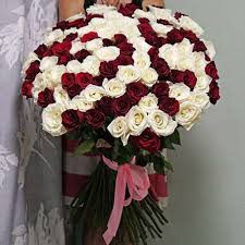 101 белая и красная розы
