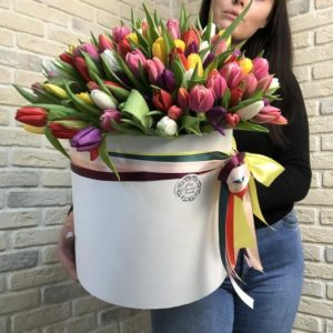 151 тюльпан в коробке