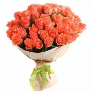 оранжевые розы(51 шт)
