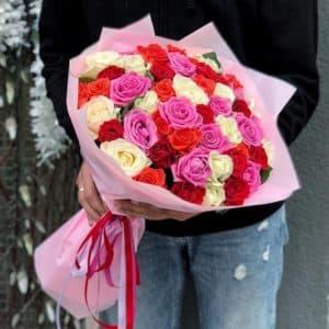 роза микс в упаковке