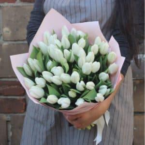 Белоснежный букет тюльпанов