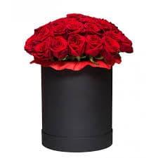 алые розы коробка