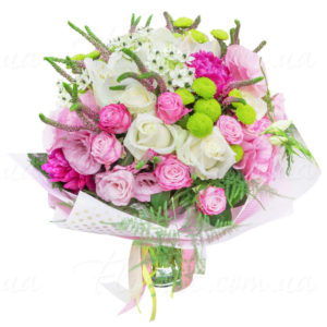 Букет роз, хризантем, орнитогалум