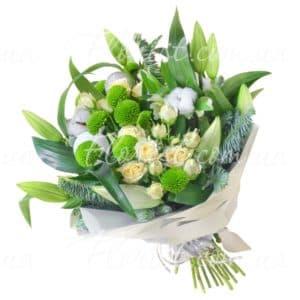 зеленые хризантемы с розами