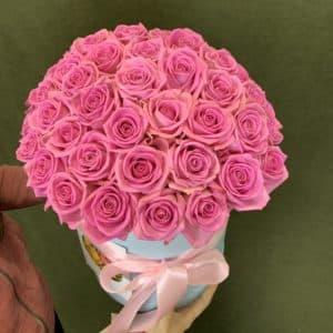 """Доставка цветов """"51 роза в шляпной коробке"""""""