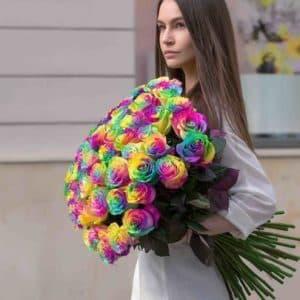 51 Радужная Роза (70 см.)
