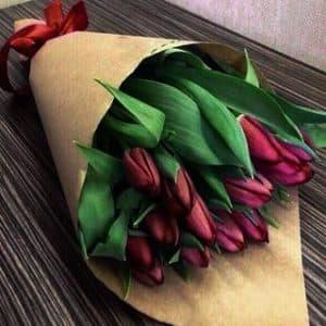 Бордовые тюльпаны букет
