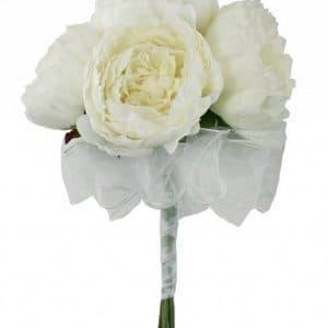 Букет невесты из 5 белых пионов