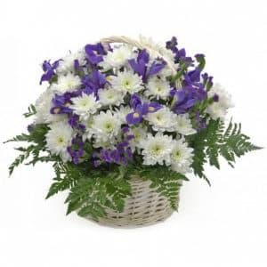 Ирисы и хризантемы в корзине