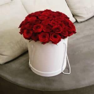 Красные розы в большой белой коробке