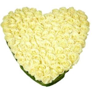 101 белая роза в виде сердца