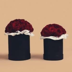 Красные розы в маленькой и средней черной коробке