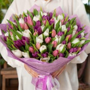 101 белый, лавандовый и фиолетовый тюльпан