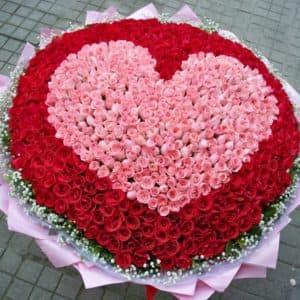 1000 роз в виде сердца