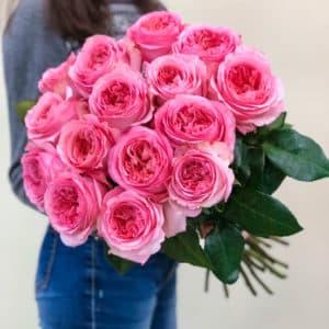 15 пионовидных розовых роз