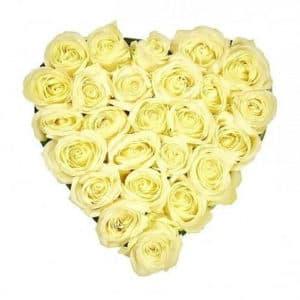 25 белых роз в виде сердца