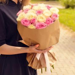 21 белая и розовая роза