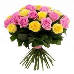 19 желтых и розовых роз