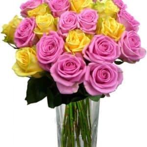 25 желтых и розовых роз