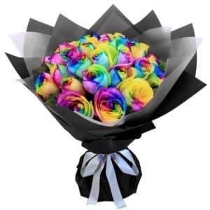 19 радужных роз