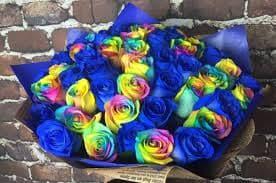 19 синих и радужных роз