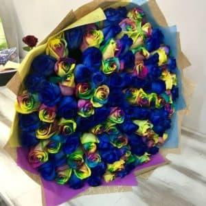 101 синяя и радужная роза