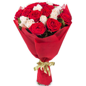 21 красная и белая роза