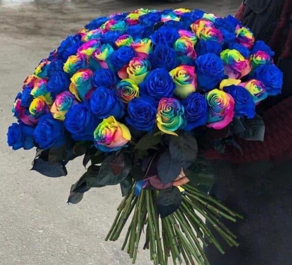75 синих и радужных роз