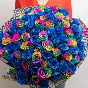 71 синяя и радужная роза