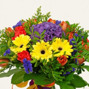 Букет желтых гербер с гортензией и розами