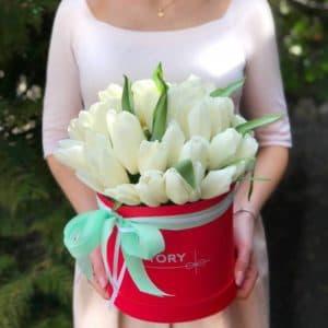 35 белых тюльпанов в коробке