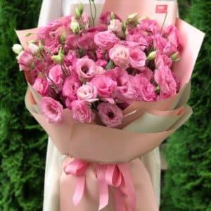 Букет 21 розовая эустома