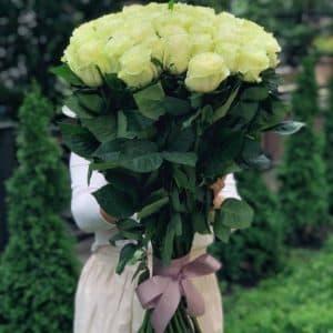 Букет 51 белая импортная роза, 80 см
