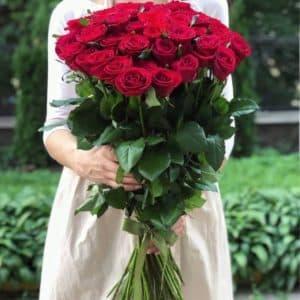 Букет 51 красная роза Премиум, 80 см