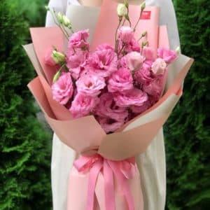 Букет 9 розовых эустом