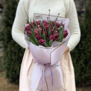 "Букет тюльпанов ""Оттенок бургунди"""