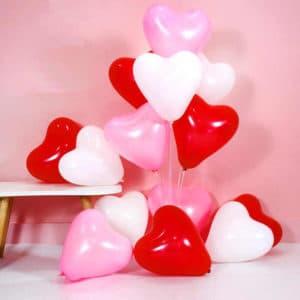 Шар Сердце красное, белое, розовое