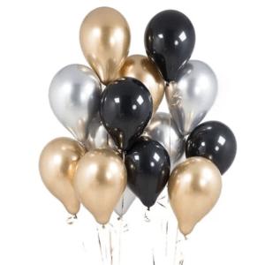 Шар однотонный металлик черный, золотой, серебряный