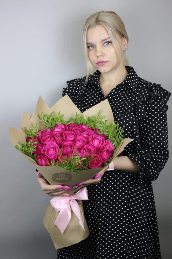 """""""25 розовых roz с черникой"""" c доставкой"""