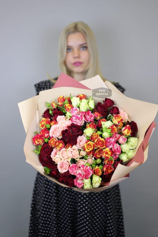 """25 кустовых роз """"Микс"""""""