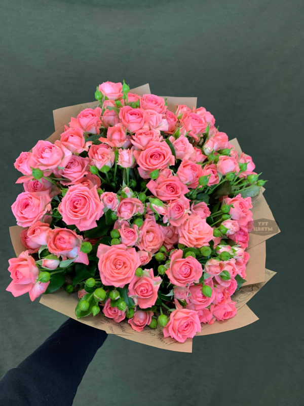 35 кустовая розовая роза