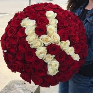 101 роза с буквой (Индивидуально)