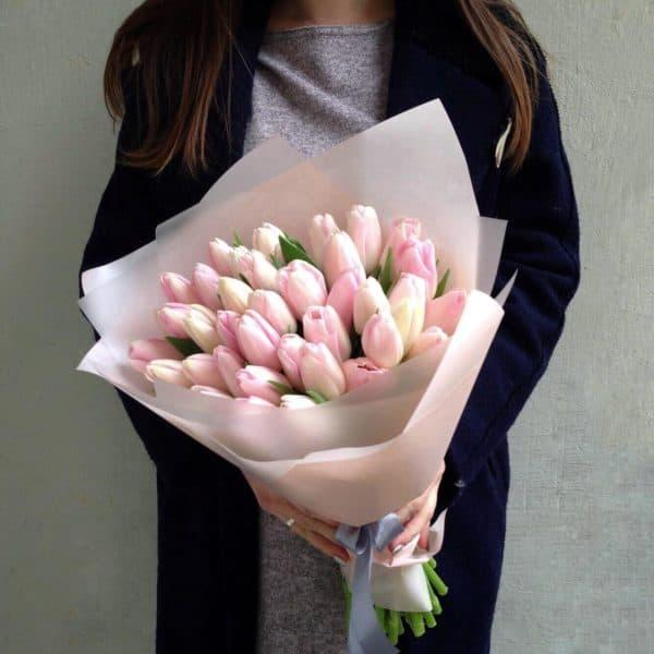 25 тюльпанов премиум в нежной упаковке с доставкой в Москве