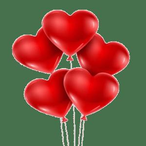 5 красных гелиевых шариков сердечек (12 дюймов)