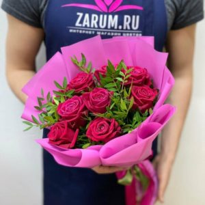Букет из 9 роз Шангрила (50 см)