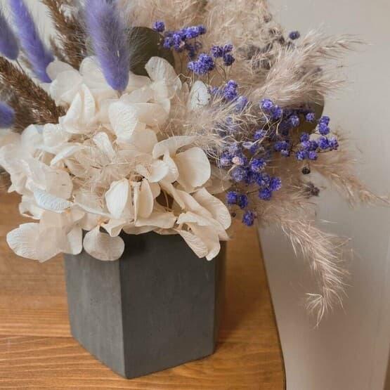 Сухоцветы в гипсовом кашпо